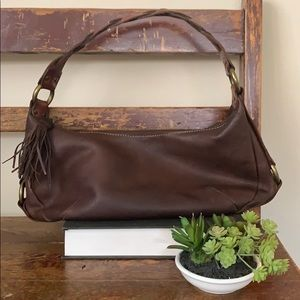 Fossil Brown Leather Braided Hobo Purse Bag